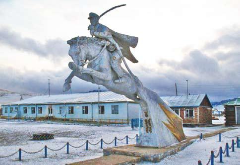 Монголия. Памятник монгольским революционерам в посёлке Бурег-Хингае