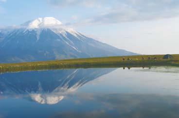 Вулкан Толбачик, на первом плане торфянное озеро - Камчатка