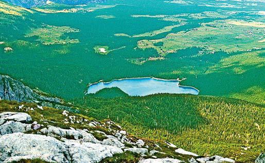 Черногория. С вершины Савин Кук (2313 м) хорошо видно всё озеро Чёрное в Черногории