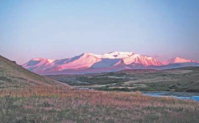 Алтай. плато Укок, Табын-Богдо-Ула на закате