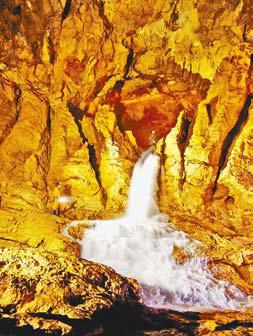 Подземный водопад в пещере