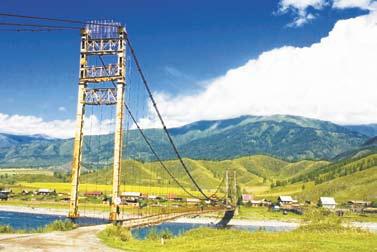 Алтай. Мост через Катунь в селе Тюнгур