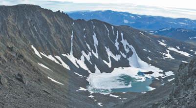 Полярный Урал. Панорама спуска на север с перевала Ехо (между р. М. Хута и руч. Нярматотане), который мы прошли первыми