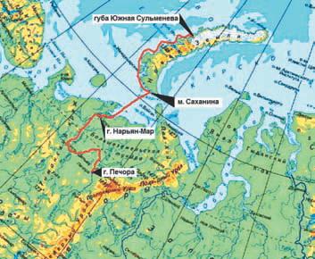 Схема маршрута на Новую Землю