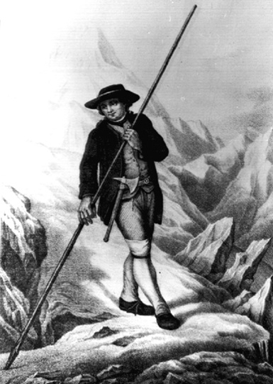 История альпинизма. С таким снаряжением — пикой, топором, и в шляпе — ходили по Альпам первые горолезцы